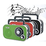 Portable kitchen radio stereo radio with AUX IN BoomBox and headphone Retro nostalgia Design (Green)