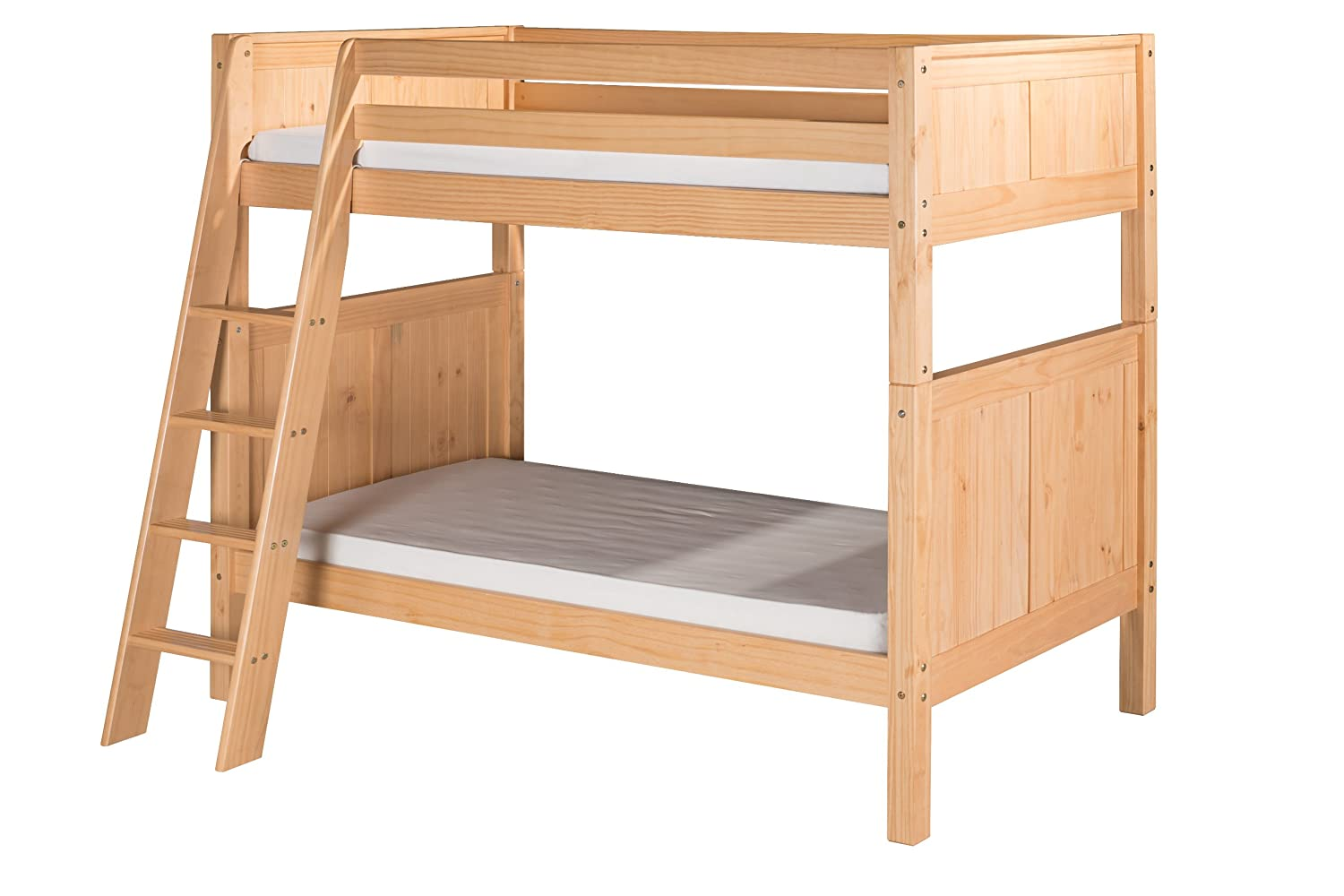 Camaflexi C1623_WH Panel Style Solid Wood Bunk Bed, Full-Over Full, White