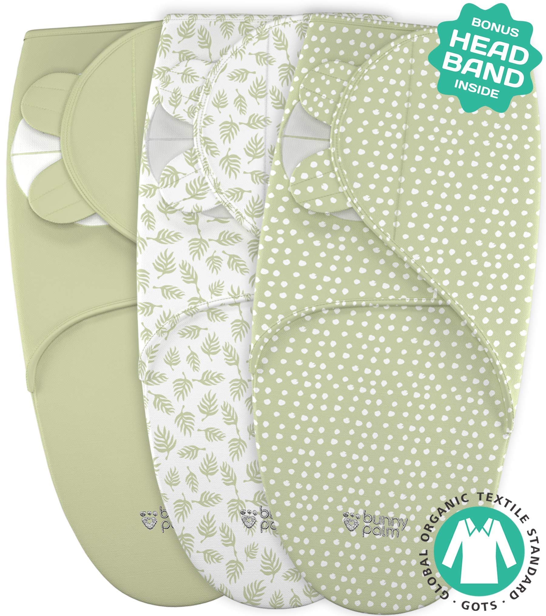 Swaddle Blanket for Baby, Newborn Boy or Girl Adjustable Sleepsack, Unisex, Organic Cotton Swaddle Wrap Set 3 Bags in Pack for Infant, Soft Blankets with Baby Headband
