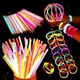 Unomor 200 8'' Glow Sticks Bulk for Glow Party Supplies with 275 Connectors Makes for Glow Glasses Necklaces Headbands(475 PCS)