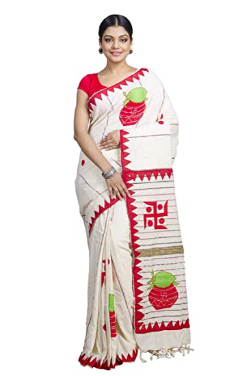 7bb8daa856 Tant Ghar Women's Cotton Khesh Applique Work sarees with blouse (White,  KA-01)