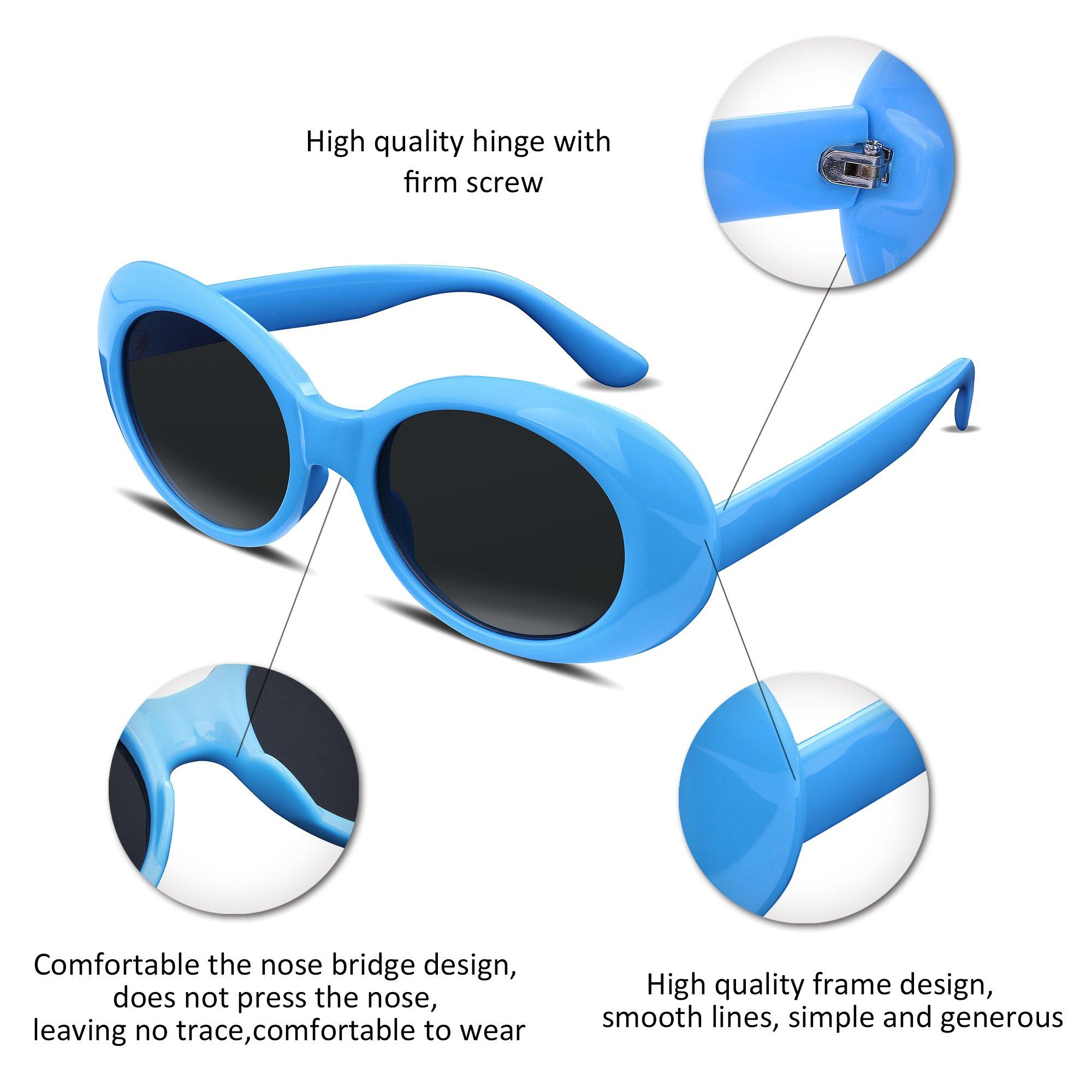 FEISEDY Candy Retro Acetate Blue Frame Clout Goggles Kurt Cobain ...
