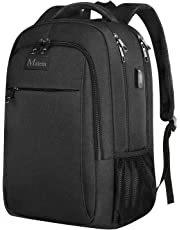 Laptop Backpack,Business Computer Rucksack Large Compartment With USB Charging Port For Women And Men,Waterproof Durable College School Bag For Boy And Girl Fits 15.6 Inch Laptop And Notebook-Black