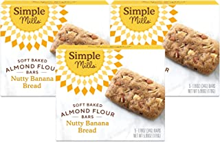 product image for Simple Mills Almond Flour Snack Bars (Nutty Banana Bread) with Organic Coconut Oil, Chia Seeds, Sunflower Seeds, and Flax Seeds, Great for Stocking Stuffers, 3 Count (Packaging May Vary), 17.97 Ounce