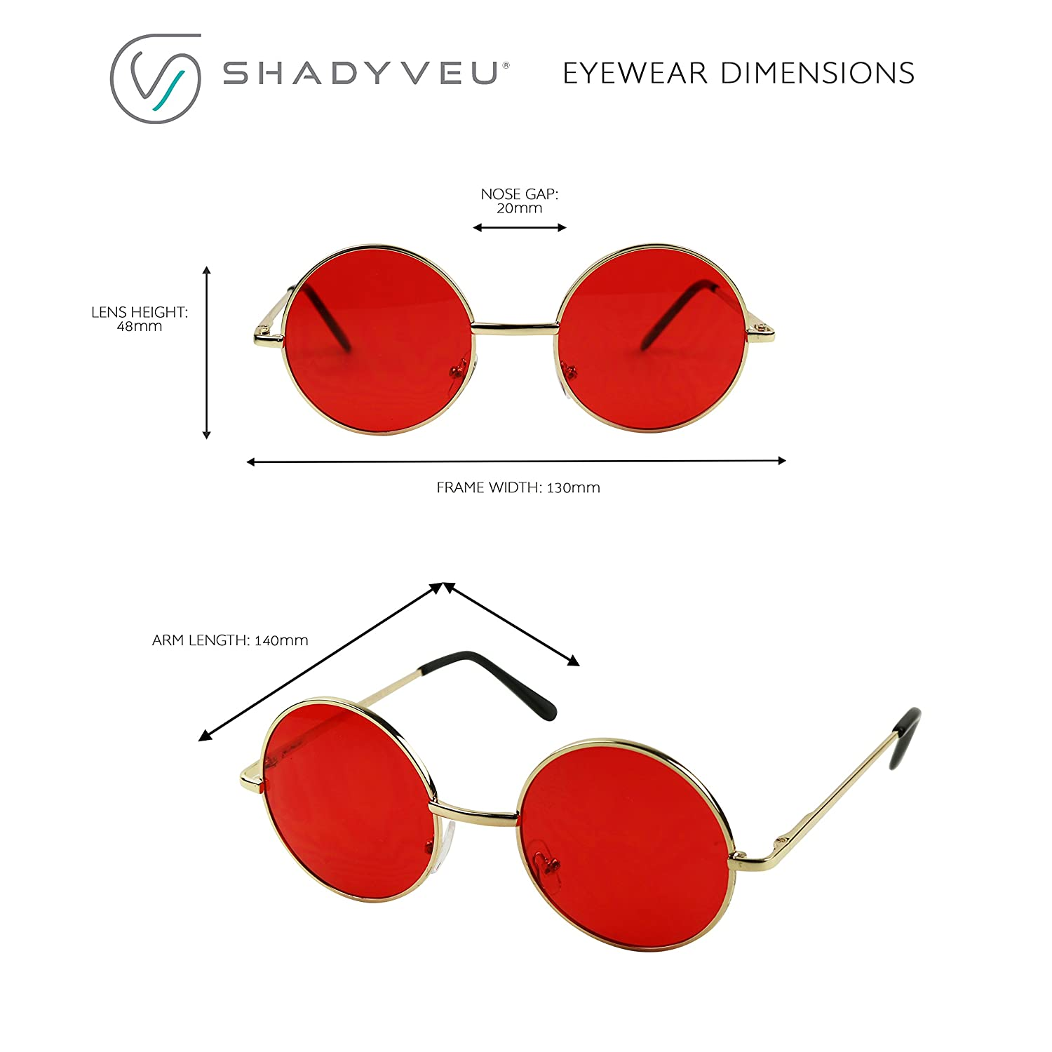 f09d8becdc89 Amazon.com: ShadyVEU Retro Round Red Tint Colorful Lennon Groovy Hippy Wire  Circle Sunglasses (Black Frame, Red Lens): Clothing