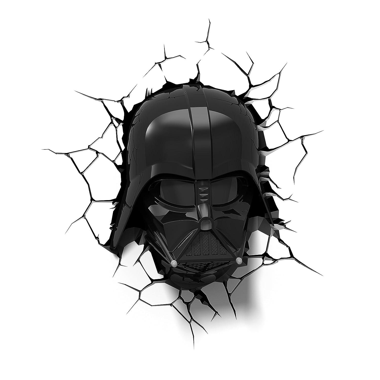 Luz de noche niños LED – Lámpara Star Wars mascára Darth Vader – 3D Light FX - Luz de pared con minutero y pegatina de pared – Funciona con Pilas 3DLIGHTFX GG170