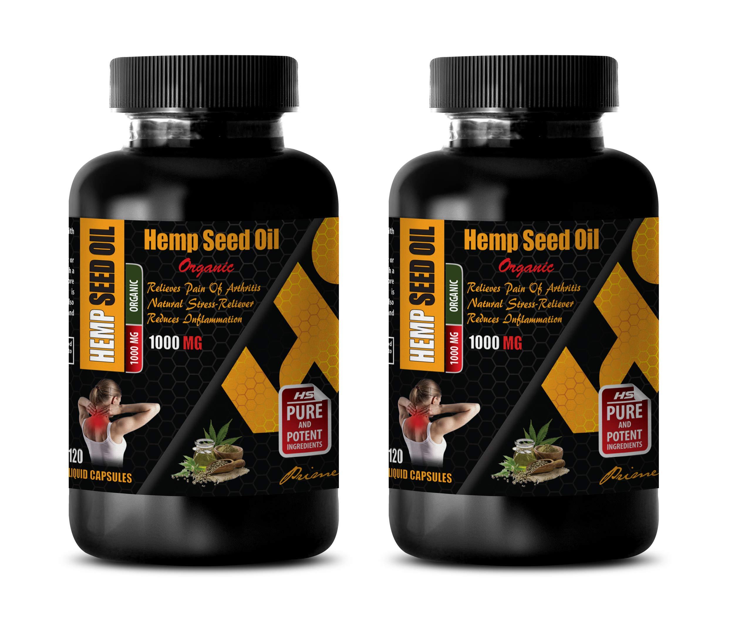 Pain Relief Supplement Natural - Hemp Seed Oil 1000 MG Organic - Dietary Supplement - Hemp Oil Vitamins - 2 Bottles (240 Liquid Capsules)