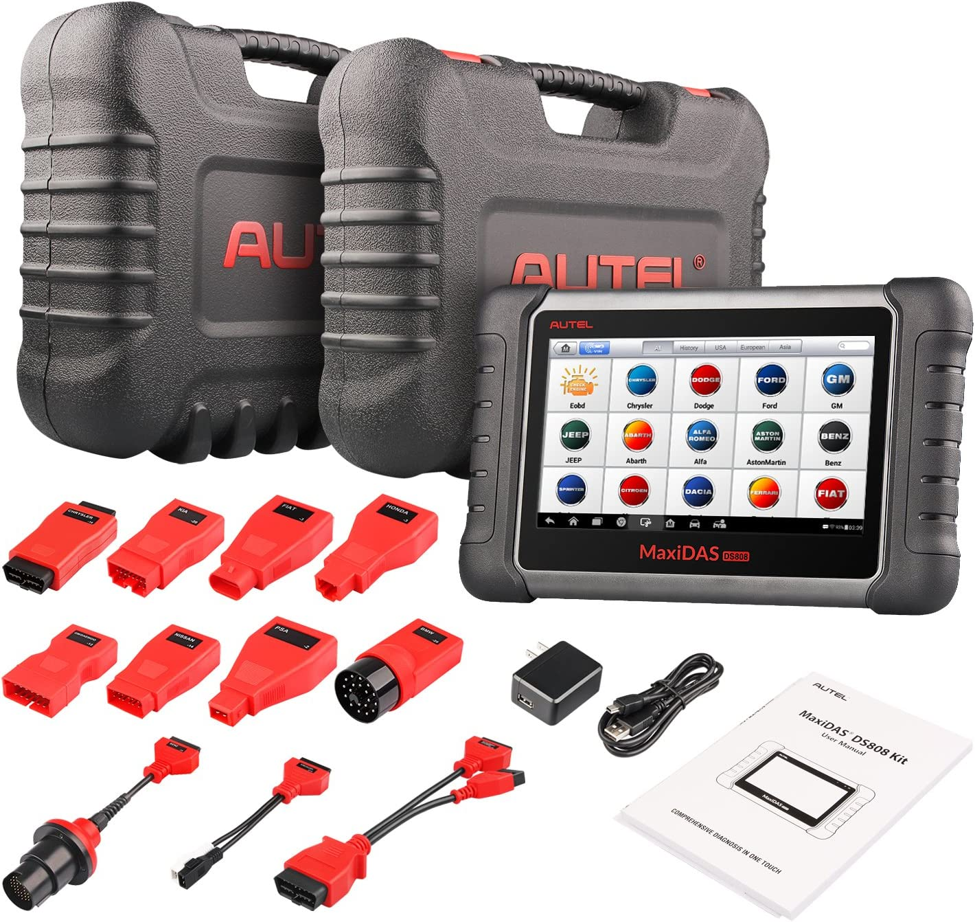 Autel MaxiDAS DS808K (Upgraded Version of DS708,DS808) OBD2 Scanner Best Car Code Reader Diagnostic Tool KIT Tablet Full Set Support Injector Key Coding with Autel Professional Carry Case