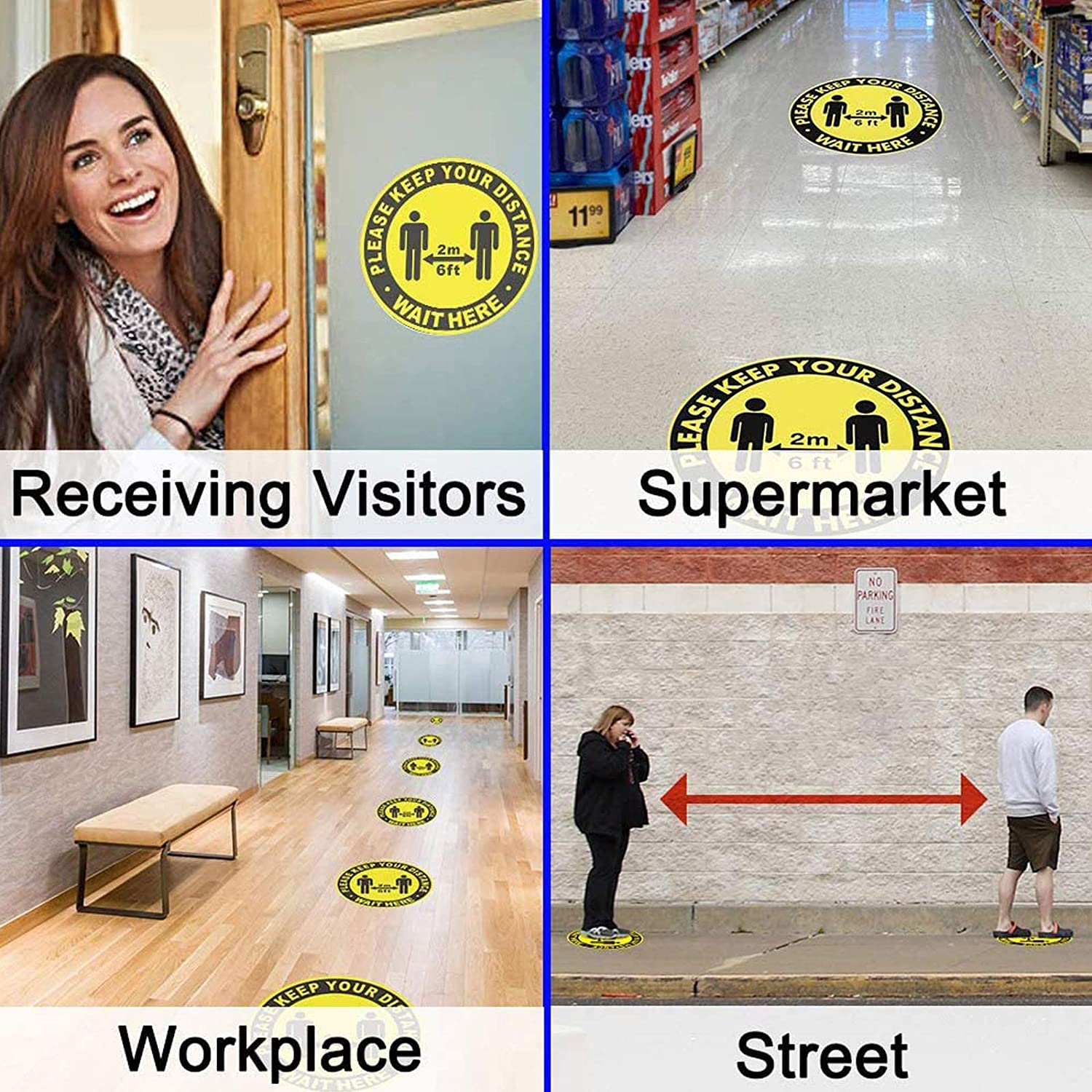 Social Distancing Floor Stickers,10pcs Yellow Warning Tape Round Removable Waterproof Anti-Slip Safety Tape- PLEASE KEEP YOUR DISTANCE WAIT HERE