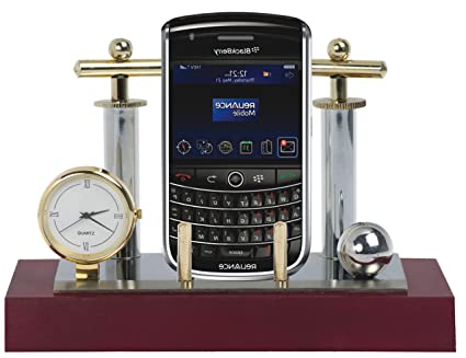 Deals Outlet Brass & Stainless Steel Mobile Stand with Watch for Gift