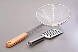 MJP Asian Spider Strainer Ladle with Wooden Handle (6.25 Inch Basket) & Bonus Hand Cheese Grater Plane Stainless Steel Combo