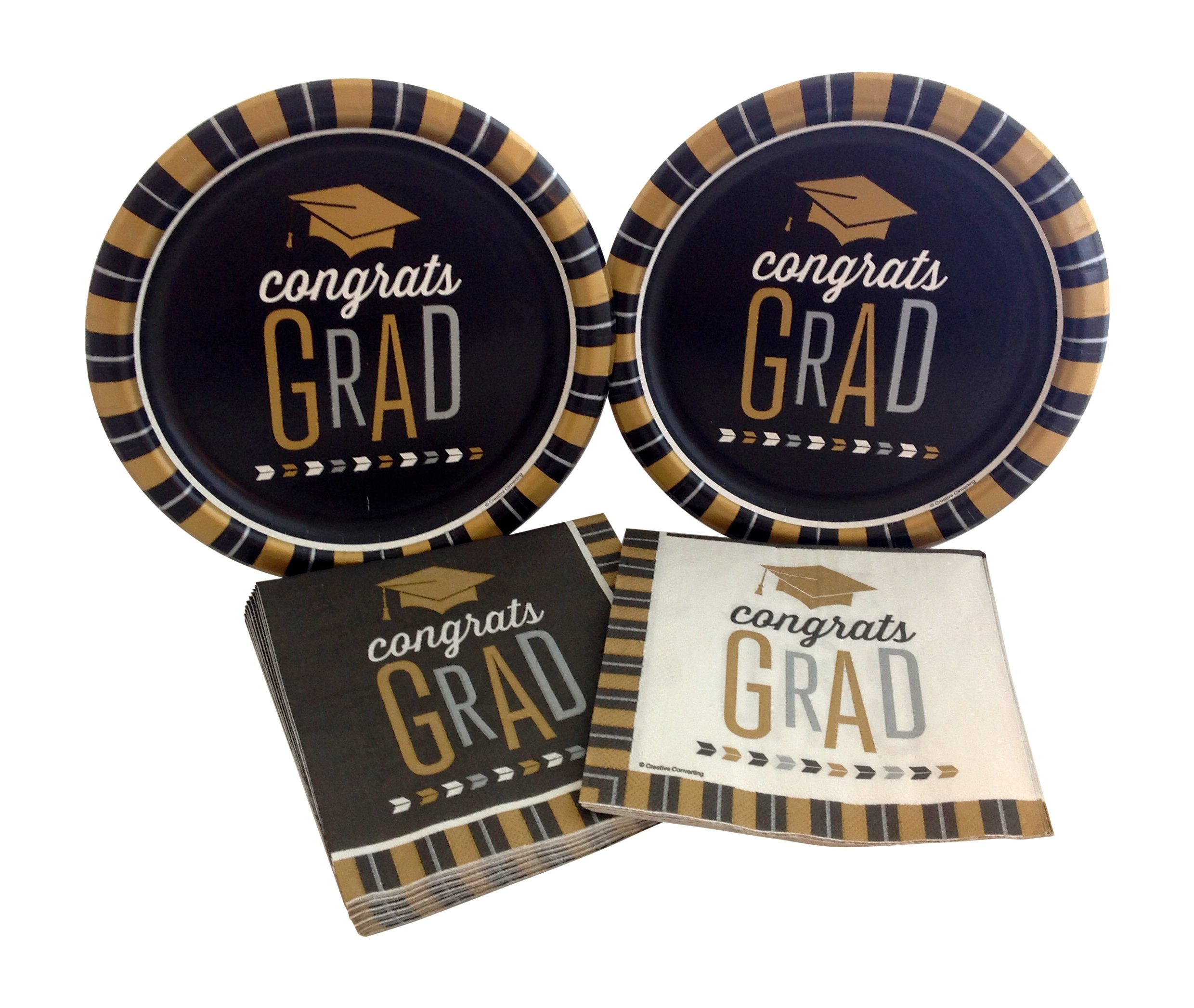 Congrats Grad Graduation Party Bundle with Dinner Paper Plates and Napkins for 16 Guests
