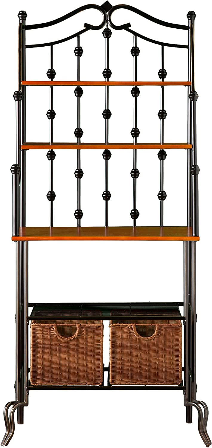 Southern Enterprises Saint Pierre Bakers Rack – Upper Shelves w Large Rattan Storage Baskets – Iron Metal Construction