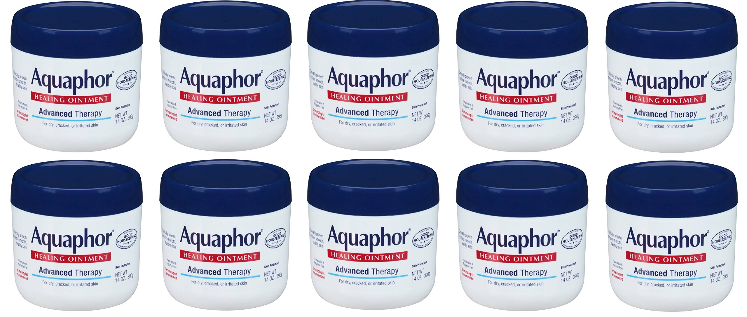 Aquaphor Advanced Therapy Healing Ointment brtfEy Skin Protectant, 10 Pack (14 Ounce)