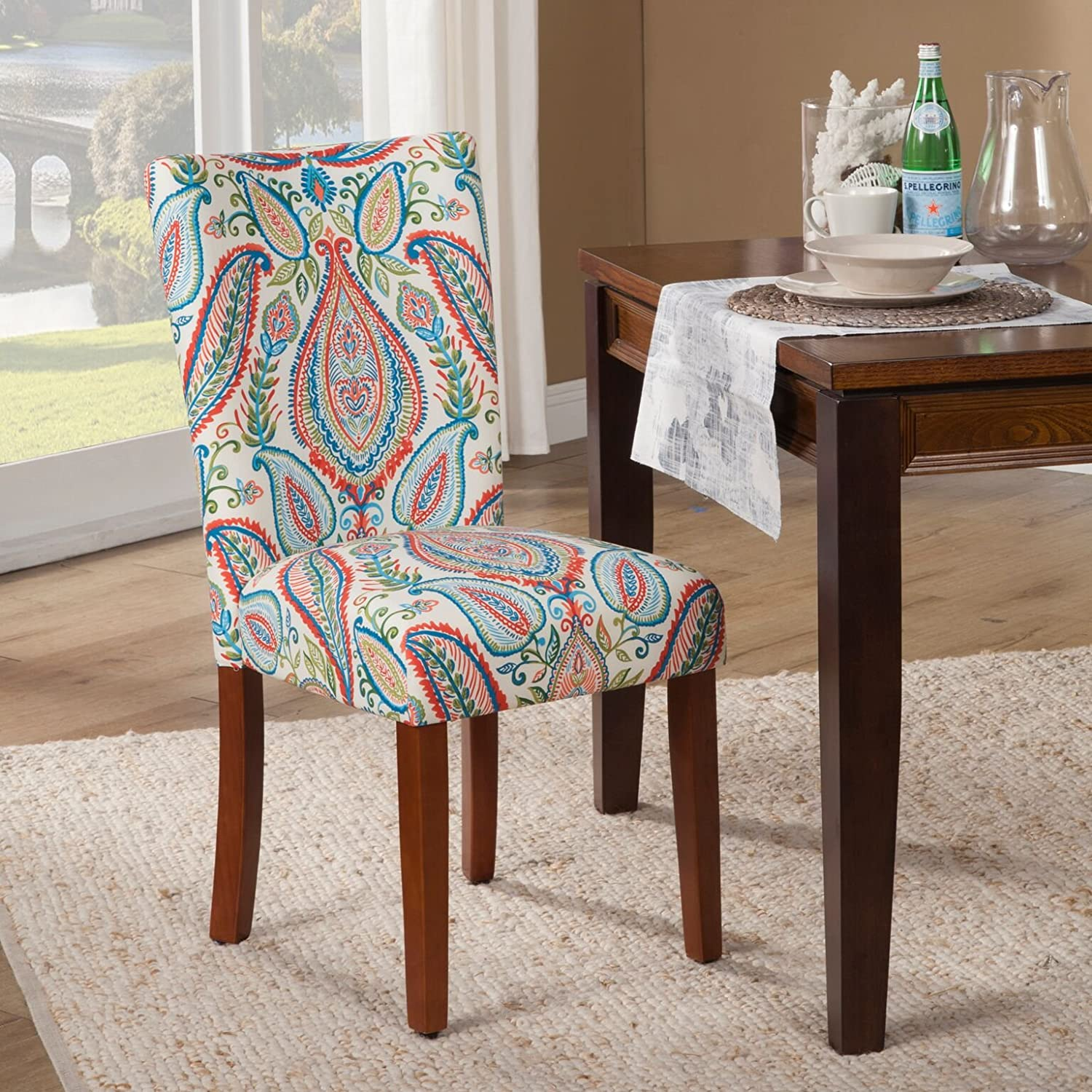 Kinfine Parsons Upholstered Accent Dining Chair, Set of 2, Colorful Paisley