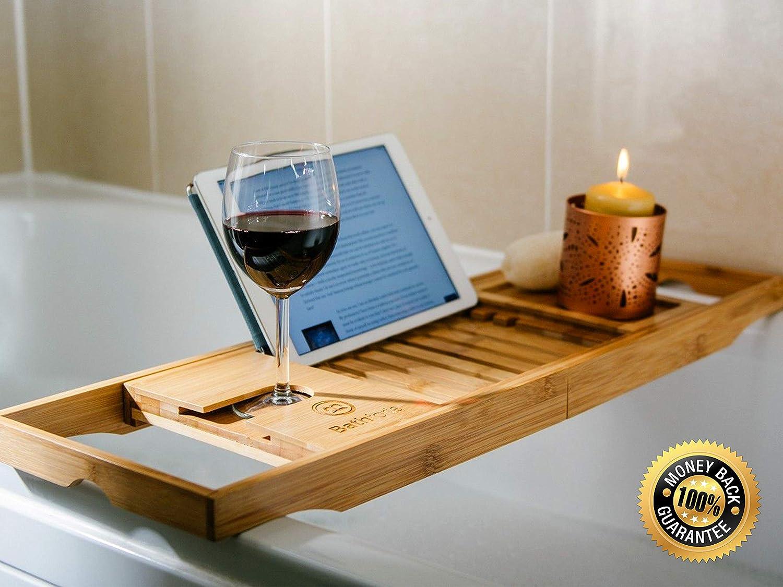 tablette support pour livre porte-verre /à vin Bathforia Plateau de luxe antid/érapant et r/églable en bambou pour baignoire accessoire de salle de bains