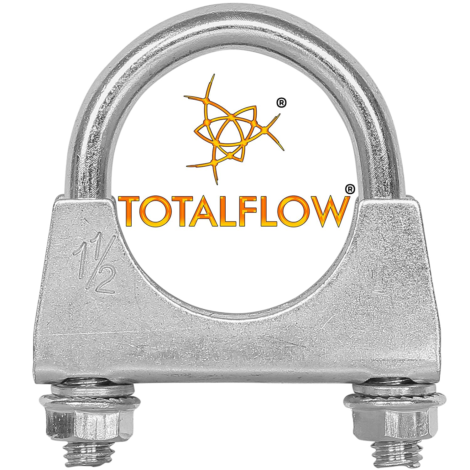 TOTALFLOW Natural Finish 2.25 TF-U225 304 Stainless Steel Saddle U-Bolt Exhaust Muffler Clamp-2.25 Inch