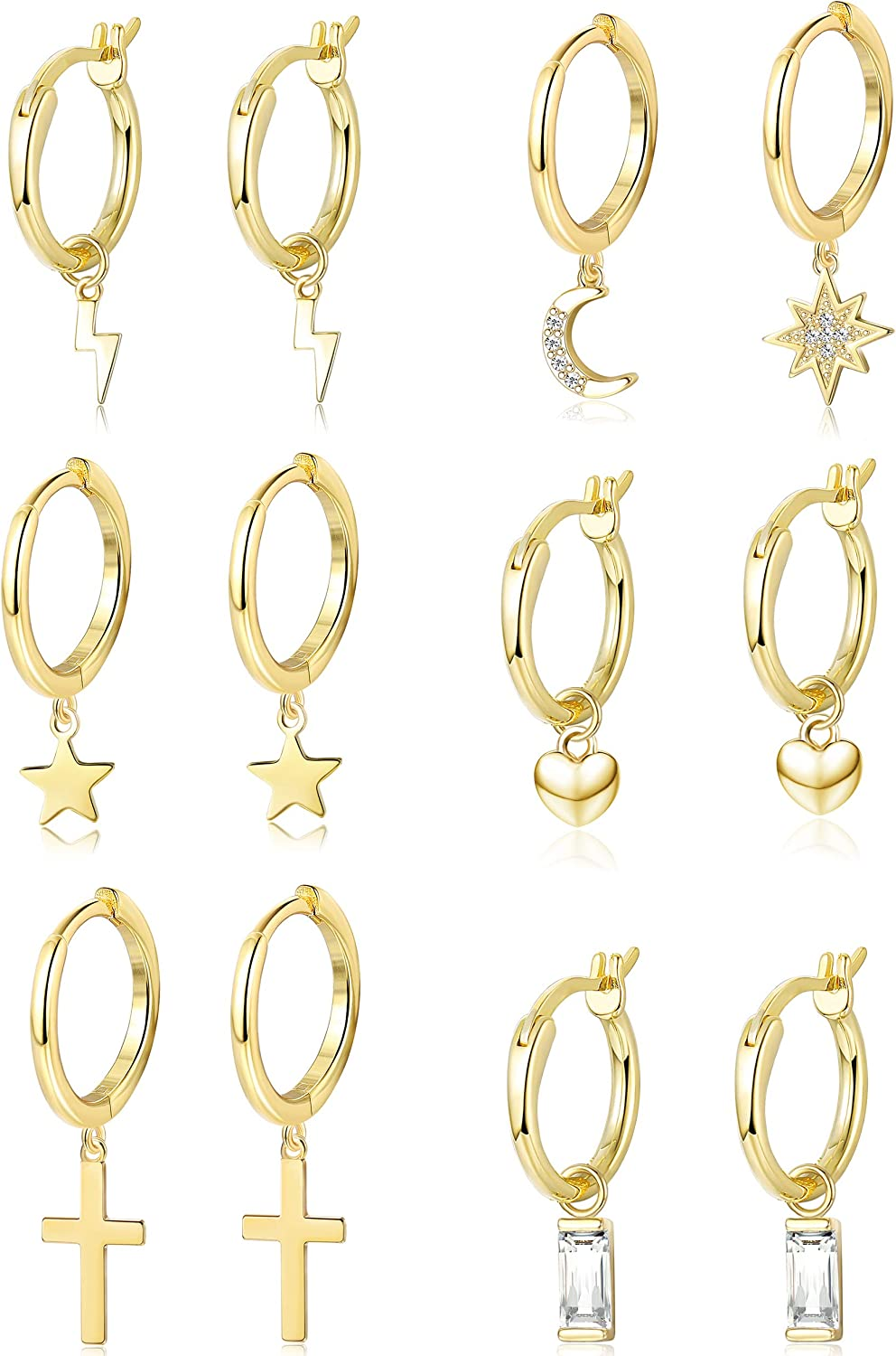 ORAZIO 6 Pairs Hoop Dangle Earrings Set for Men Women Heart Crystal Star Moon Heart Asymmetrical Huggie Drop Dangle Earrings Stainless Steel Earrings Fashion Jewerly