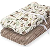 Pobibaby - 2 Pack Premium Changing Pad Cover - Ultra-Soft Cotton Blend, Stylish Woodland Pattern, Safe and Snug for Baby (Wil