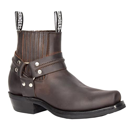 f742789adea A1 FASHION GOODS Mens Brown Leather Ankle Biker Boots Slip On Square ...