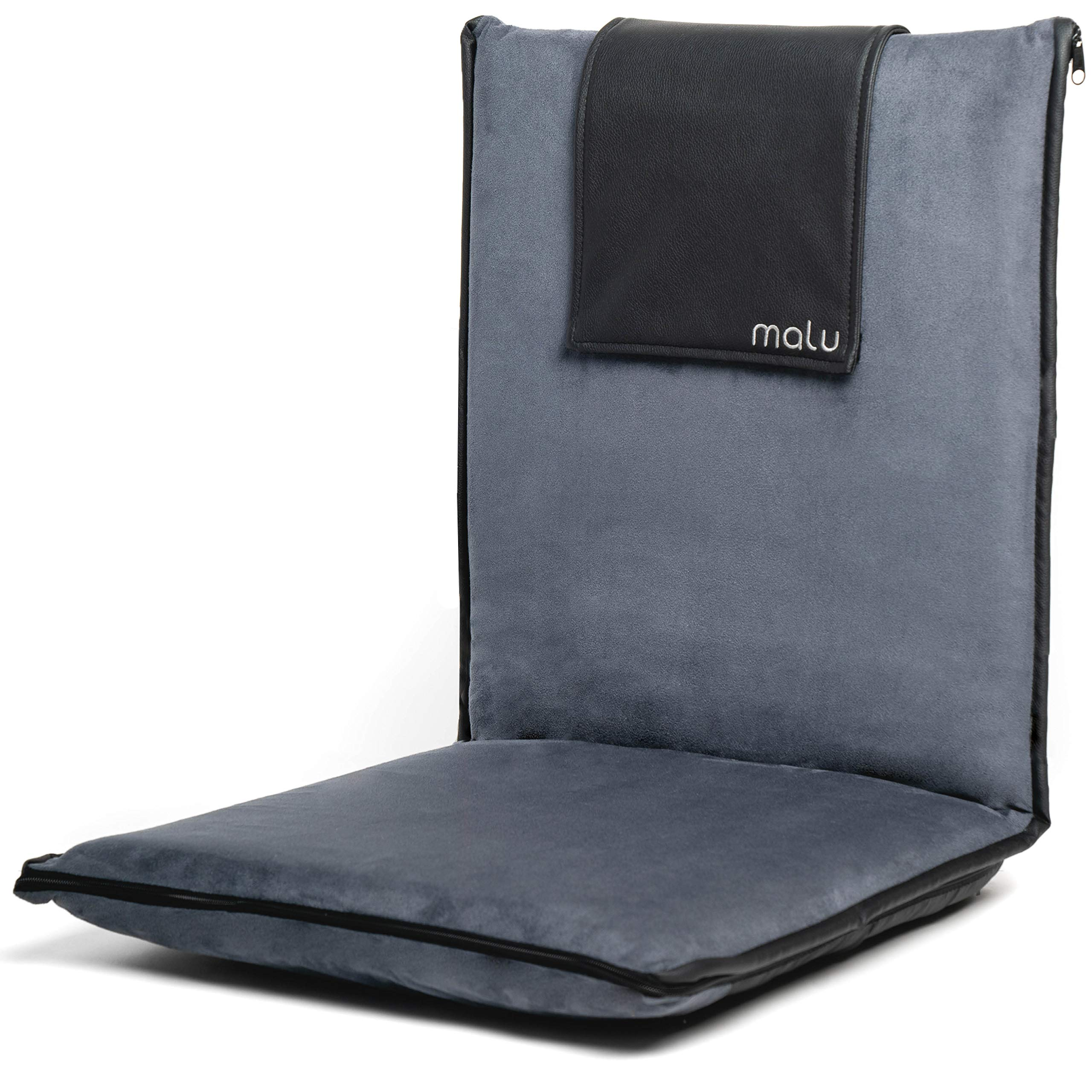 malu Luxury Padded Floor Chair with Back Support - Meditation Cushion w/Adjustable Fully Folding Backrest and Removable Gray Washable Cover - Portable - Easy Wash Nylon Bottom - Vegan Leather Accents by malu