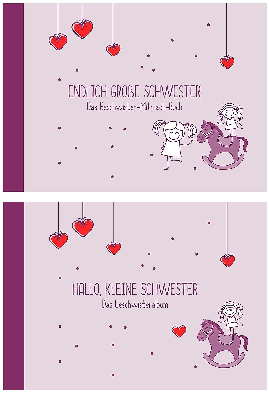 """Geschenk zur Geburt für Geschwister:""""Endlich große Schwester"""" +""""Hallo, kleine Schwester"""" (Erinnerungs-/Foto-Album,Öko, Recycling-Papier) Öko Deko-und-Geschenke-Shop"""