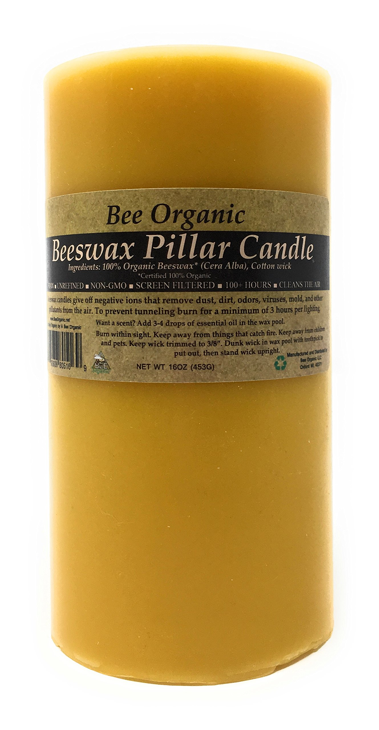 100% Organic Beeswax Pillar Candle, Non-GMO, Raw, Unrefined and Screen Filtered. Unbleached Cotton Wick. (3 x 6)