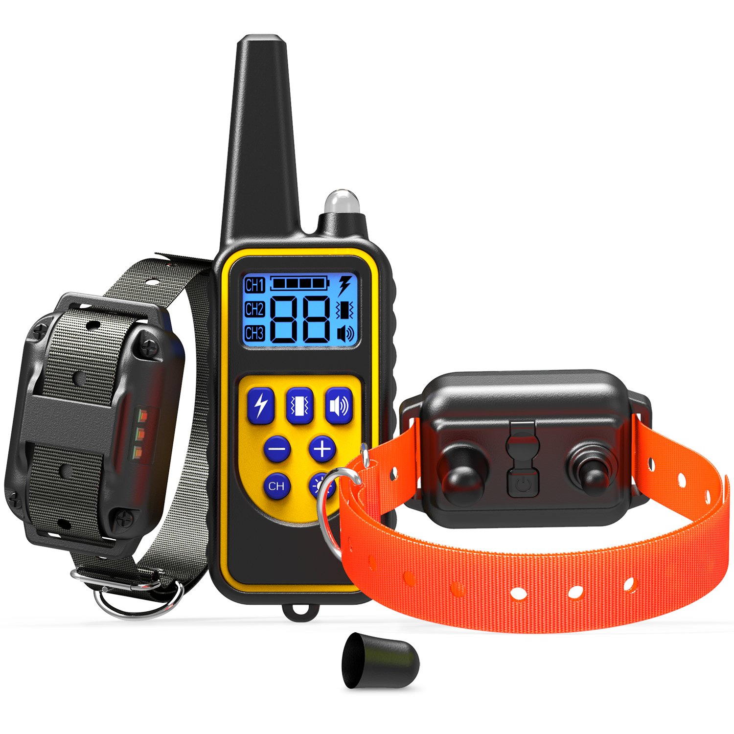 Dog Training Collars, Veckle Dog Shock Collar Waterproof Dog Electronic Collar Remote Training with LED Beep Vibration Shock Collar for Large and Medium Dogs Training for 2 Dogs with Remote