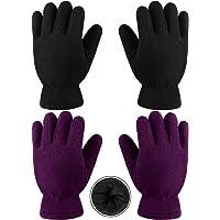 Cooraby 2 pares de guantes de forro polar para niños, guantes gruesos y cálidos para actividades al aire libre.