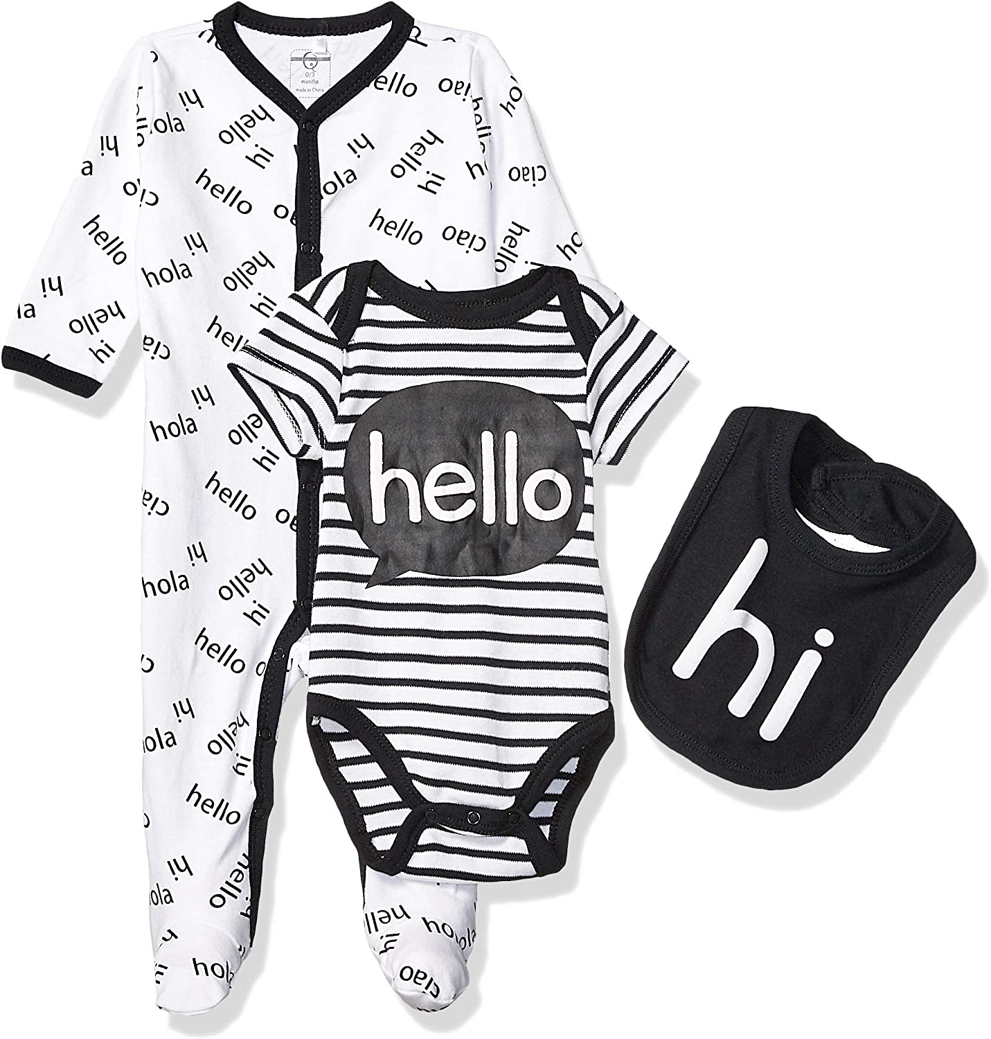 Quiltex Boys Toddler Hello Long-Sleeve Coverall Creeper//Bib 3 Piece Set