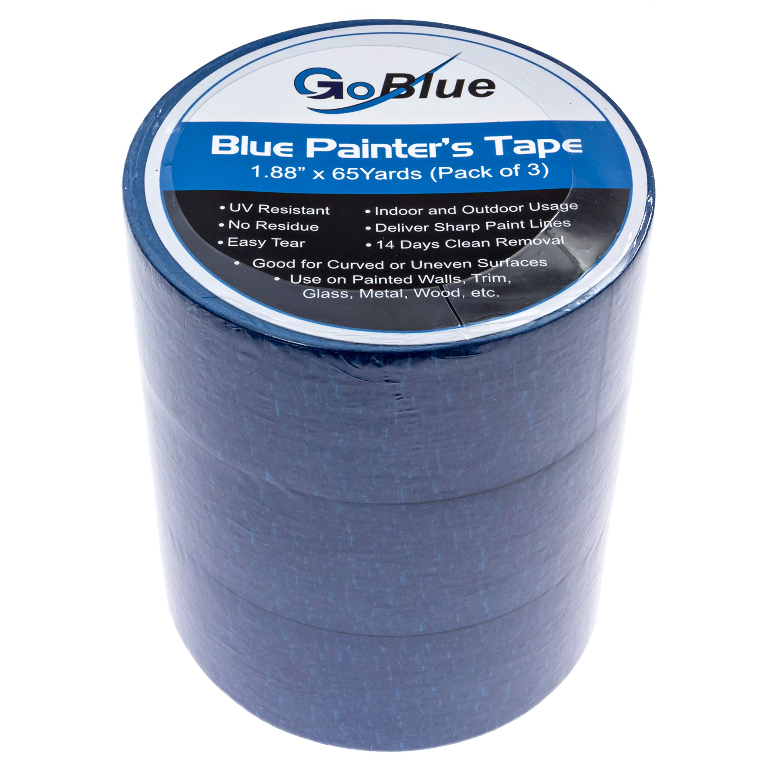 3 x Blue Painters Tape (65 Yard) by GoBlue - 1.88'' - Leaves Zero Adhesive Residue - for Any Surface - 2 Inch Colored Painter's Tape for Decorating & Painting Walls - Best Painter & Masking Paint Tape by GoBlue