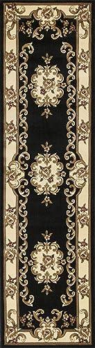 KAS Oriental Rugs Corinthian Collection Aubusson Runner, 2 2 x 7 11 , Black Ivory