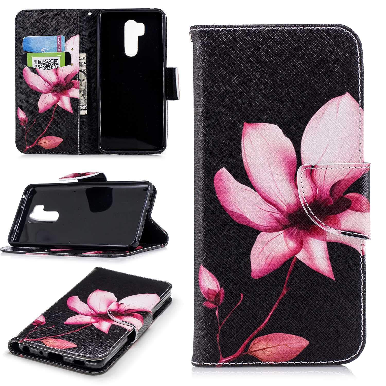 HCUI Compatible avec LG G7 Coque Cuir Étui Wallet Housse, Portefeuille de Protection Coque avec Fonction Support Magnétique Pochette Antichoc Coque pour LG G7 - Fleur noir.