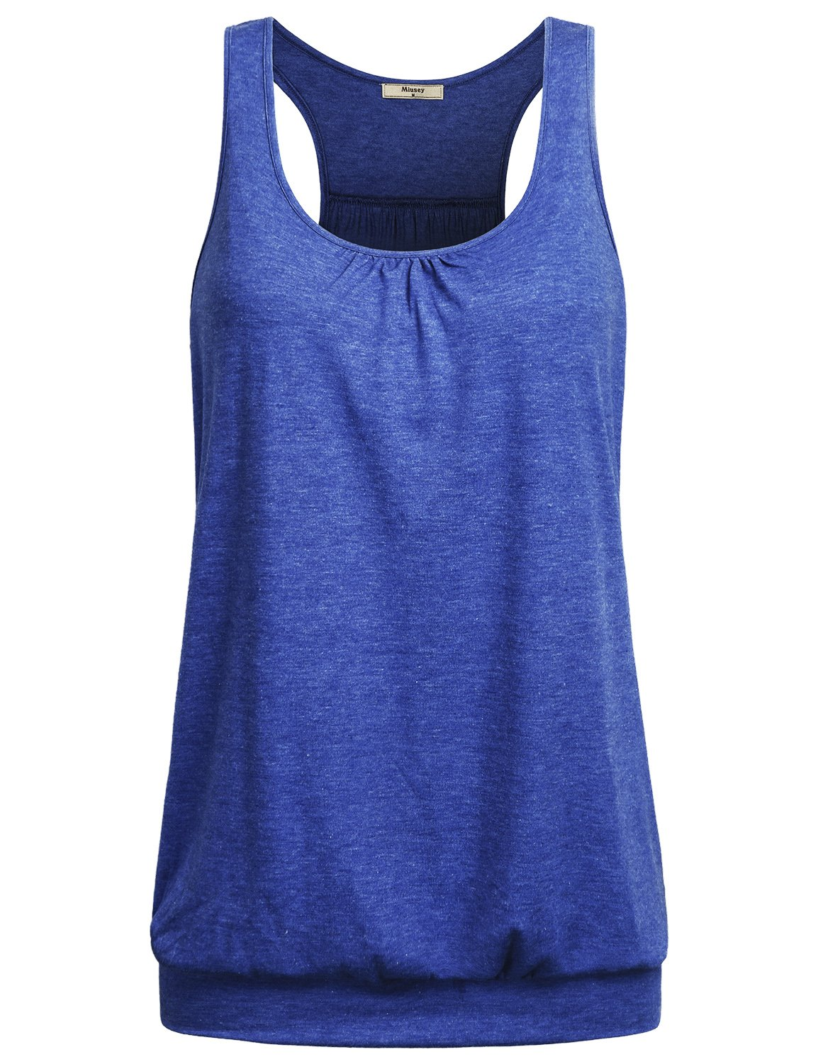 Miusey Knit Shirts for Women, Ladies Sleeveless Scoop-Neck Flowy Racerback Soft Summer Sports Cool Workout Yoga Tank Top Walking Loose Lightweight Yoga Gym Activewear Sports Cool Front Pleat Blue X