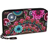styleBREAKER portemonnee met etnobloem- en bloesemmotief, vintage ontwerp, rits, portefeuilleverdeling, dames 02040040…