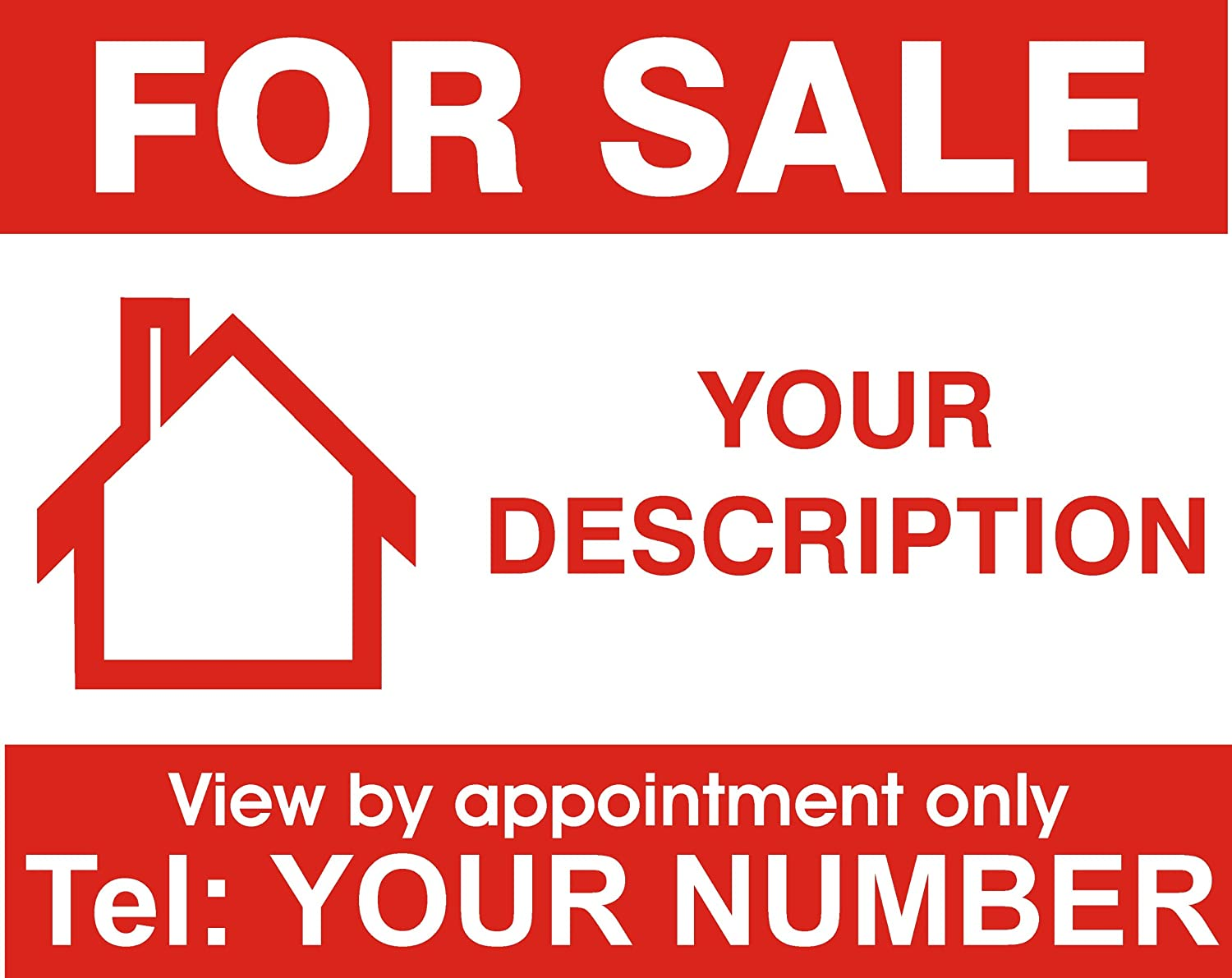 house for sale sign. property house for sale sign board personalised x 1 this is printed on one side only amazoncouk kitchen u0026 home house for sale sign