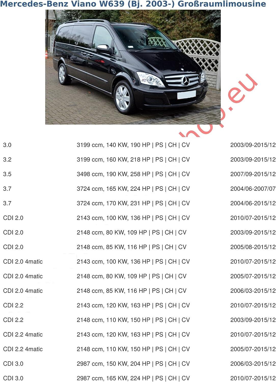 de 2003- Fourgon Bus Mercedes Vito II // Viano W639, V639 Attelage remorque avec Faisceau 7 broches col de cygne d/émontable avec outil