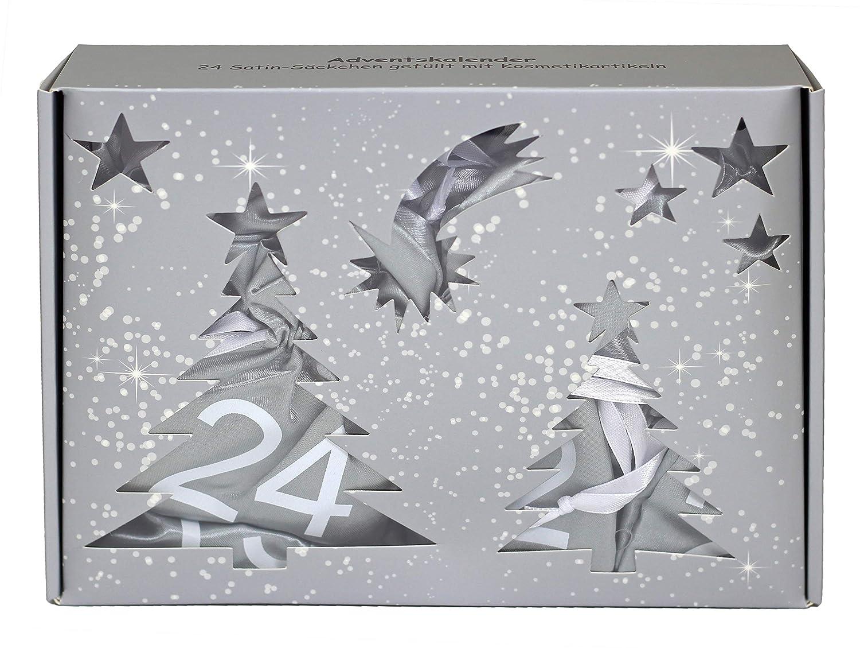 Calendrier de l'Avent cosmétique 24 sacs de satin remplis de cosmétiques blanc argent. Briconti SCHMINK888
