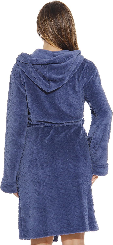 Just Love Kimono Robe Chevron Texture Fleece Hooded Bath Robes for Women