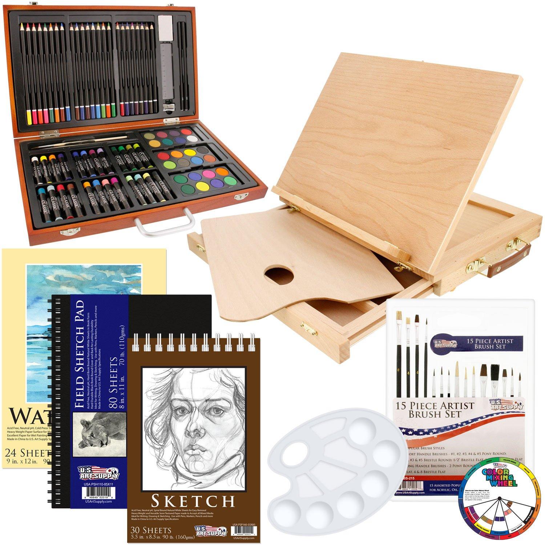 US Art Supply Deluxe Art Creativity Set in Wooden Case 103-Piece Deluxe Bonus Set 103-Piece Bonus Set with Easel KIT-82SET-E511