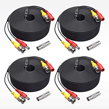 100 feet Video /& Power Cable Ready-Made Pre-Made for CCTV Security Camera 2 Pcs