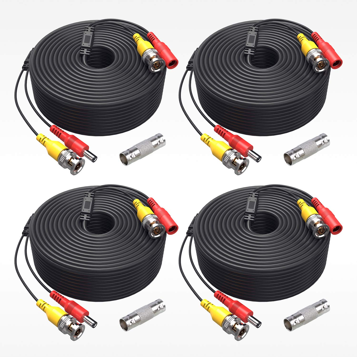 ANNKE (4) 150 Feet Video Power Cable For Security Camera System, All-in-One BNC Video and Power CCTV Security Camera Cable with Two Female Connectors (4-Pack) by ANNKE