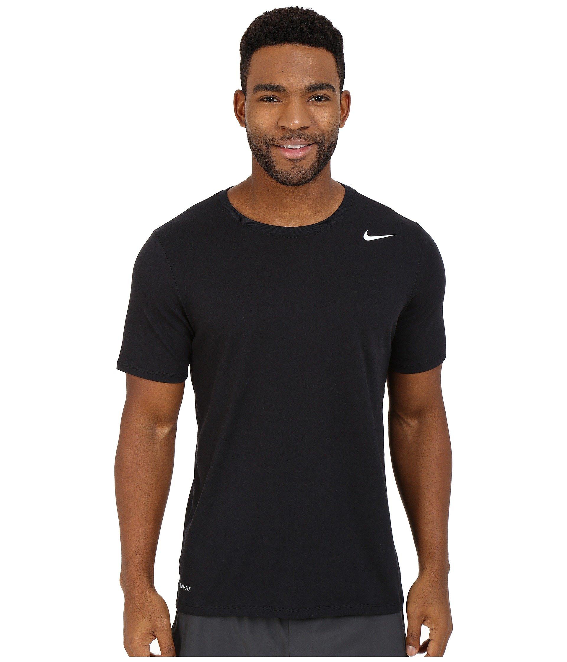 NIKE Men's Dri-FIT Cotton 2.0 Tee, Black/Black/White, Small by Nike (Image #3)