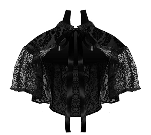 Saloon Girl Costume | Victorian Burlesque Dresses & History Cykxtees Victorian Steampunk Gothic Renaissance Pattern & Lace Capelet $39.00 AT vintagedancer.com