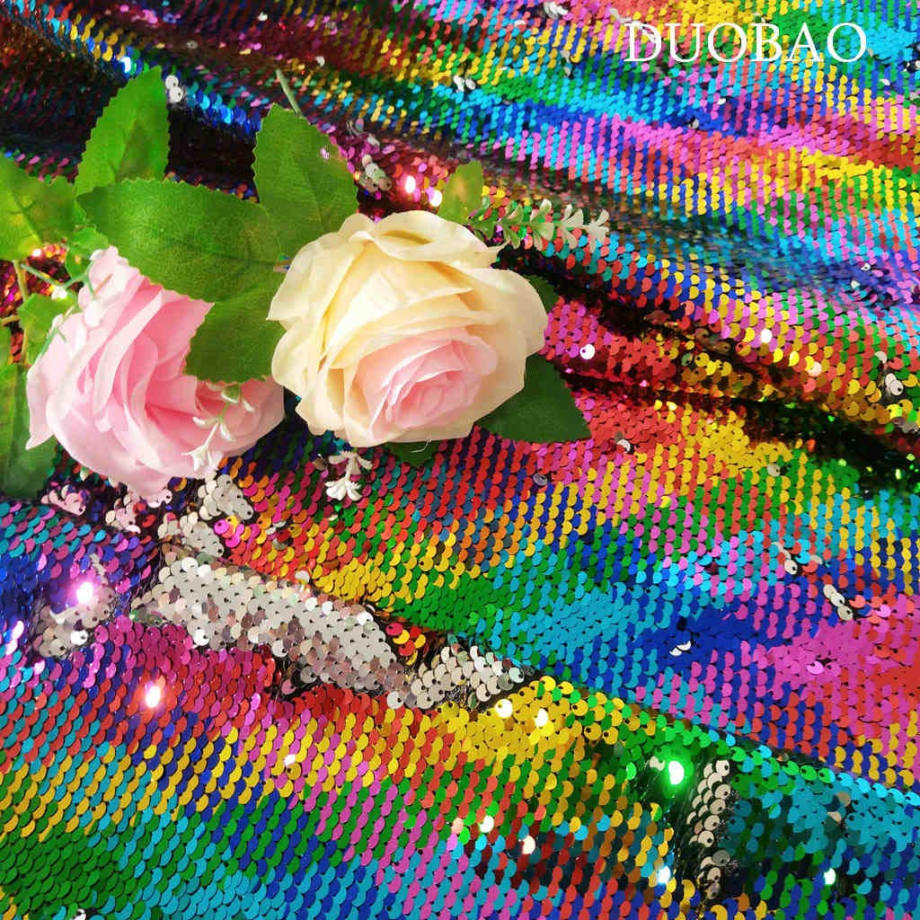 DUOBAO Sequin Fabric by The Yard Rainbow to Silver 10 Yards Two Tone Sequin Fabric for Sewing Sequin Dress Mermaid Reversible Glitter Fabric Photography Backdrop