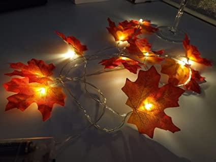 30 led maple leaf string lights battery lighting 98ft decorations fall lighted garland wire lights - Wire Lighted Outdoor Christmas Decorations