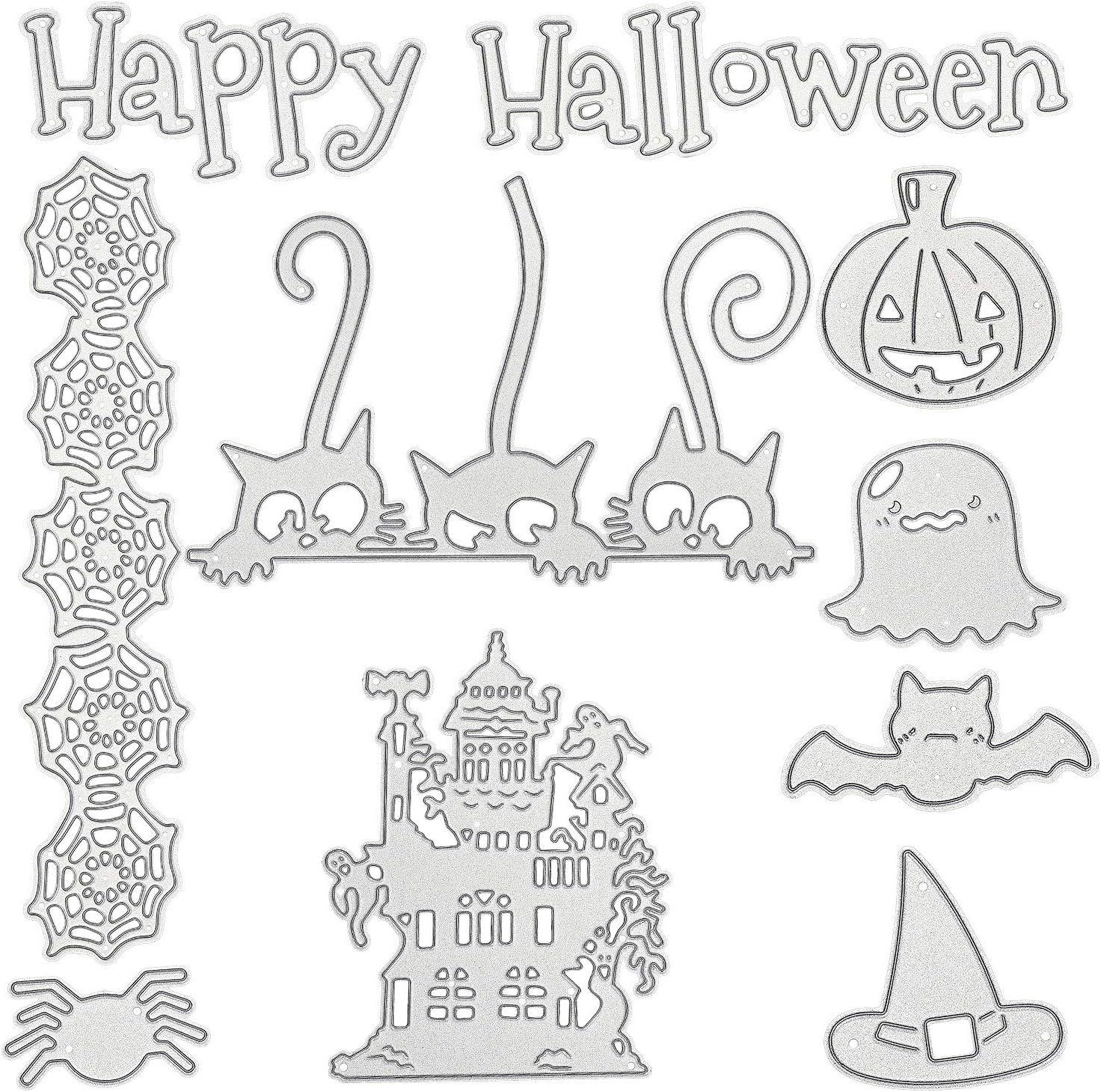 9 Piezas Troqueles de Corte de Halloween Plantilla en Forma de Casa de Calavera Calabaza Troqueles de Corte de Metal para Manualidades de Bricolaje de Tarjeta /Álbume de Recortes de Halloween