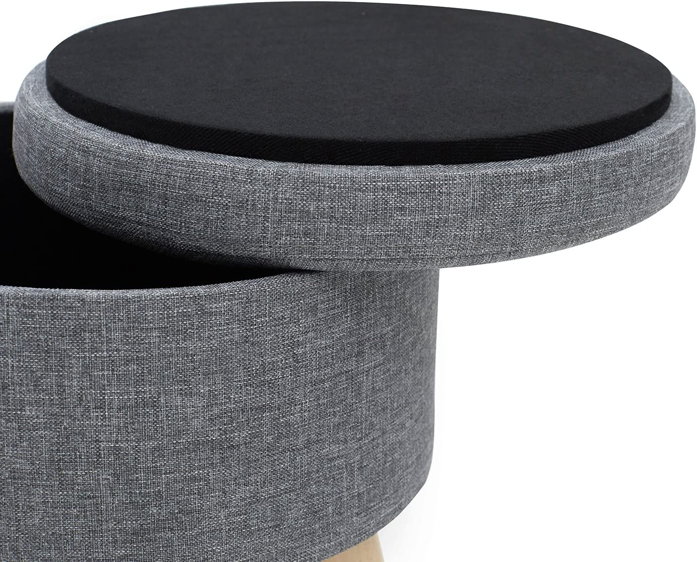 Suhu Pouf Puff Sgabello di Stoccaggio Poggiapiedi Cassapanca Contenitore Rotondo Moderno Basso Design Gambe in Legno Massello Grigio