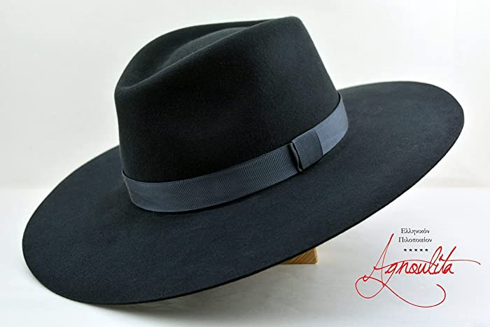 4a9a8a80e8366 Amazon.com  The Caravan - Rabbit Fur Felt Handmade Fedora Hat - Wide Brim -  Men Women  Handmade