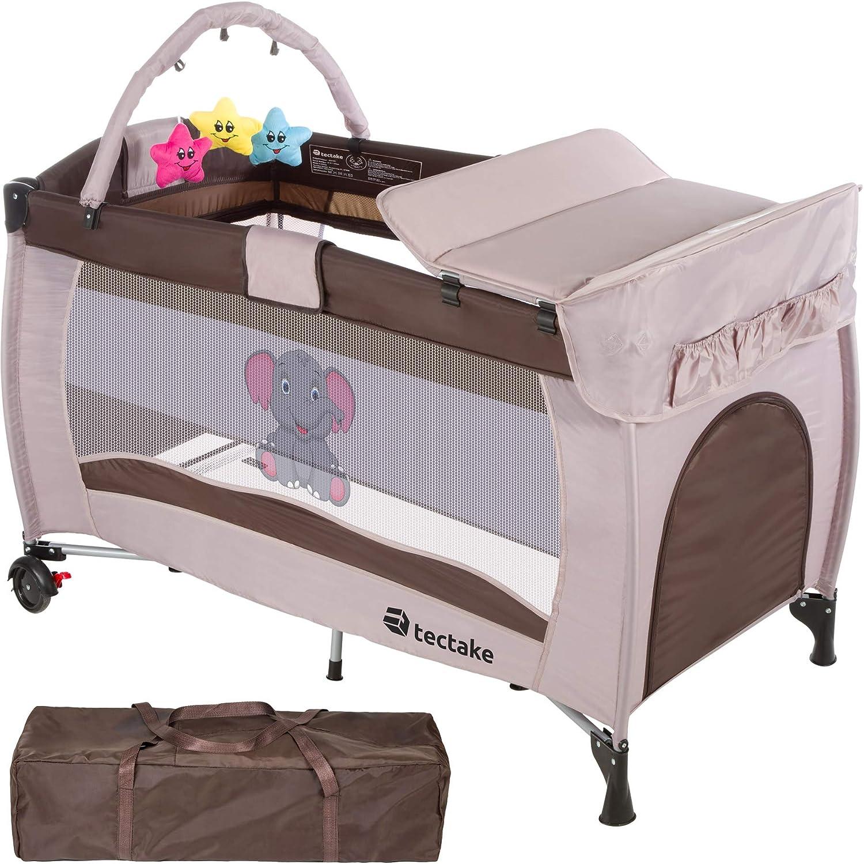 TecTake Cuna infantil de viaje portátil altura ajustable con acolchado para bebé - disponible en diferentes colores - (Marrón Café | No. 402203)